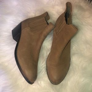 MNG Touch Tan Leather Ankle Boots Size 8.5US